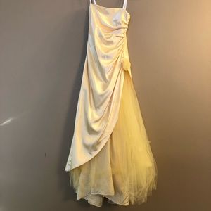 AWESOME 80's Prom Party Dress Vintage Gown yellow